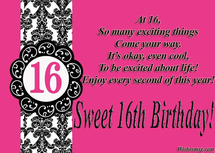 Sweet 16 Birthday Wishes And Messages