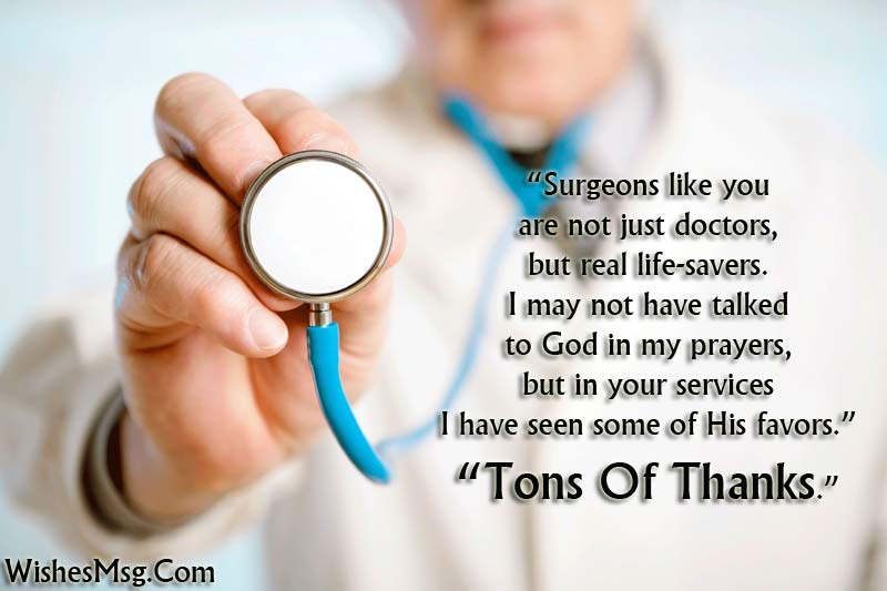 thank you note to doctor after surgery