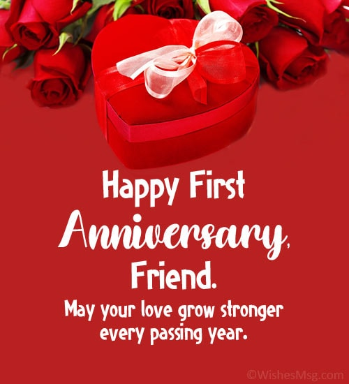 1st wedding anniversary wishes for friend