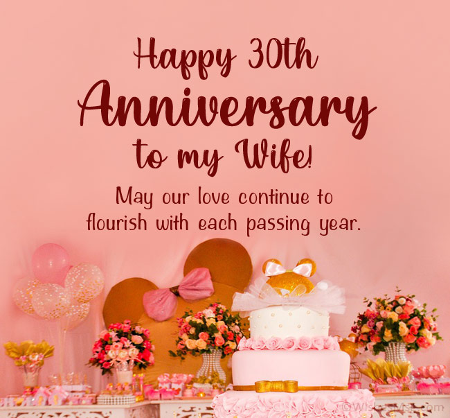 30th Anniversary Wishes for Wife