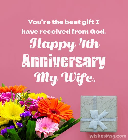 4th wedding anniversary wishes to wife
