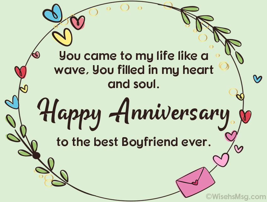 Romantic Anniversary Wishes for Boyfriend