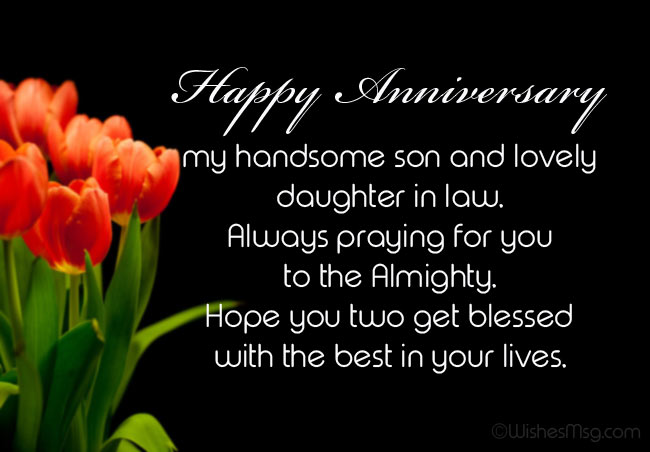 Anniversary Messages for Son and Daughter in Law from Dad