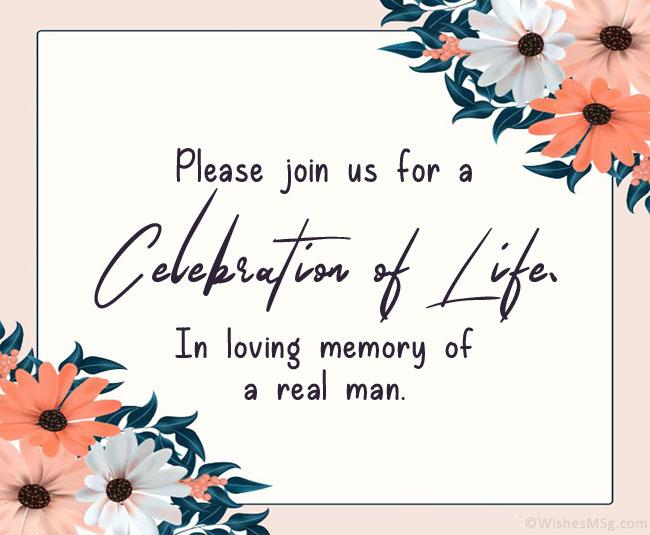 Celebration of Life Invitation Message Male