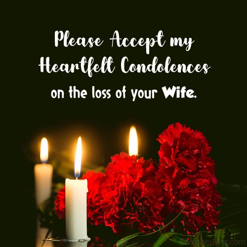 Condolence message with image for loss of wife