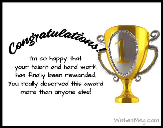 Congratulations Messages for Award