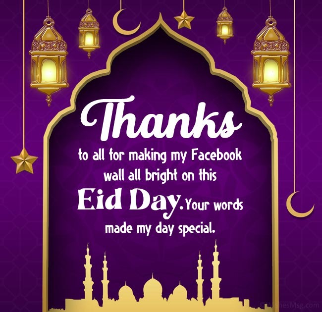 Eid Mubarak Wishes Reply for Social Media