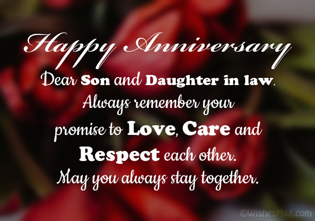 Happy Anniversary Messages for Son and Daughter in Law