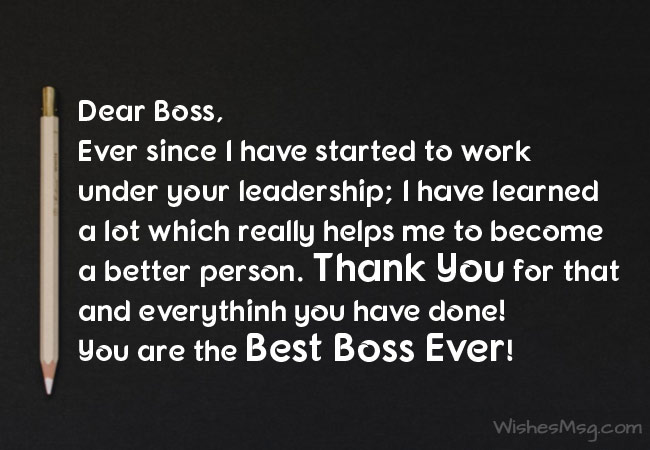 Heartfelt Thank You Letter To Boss