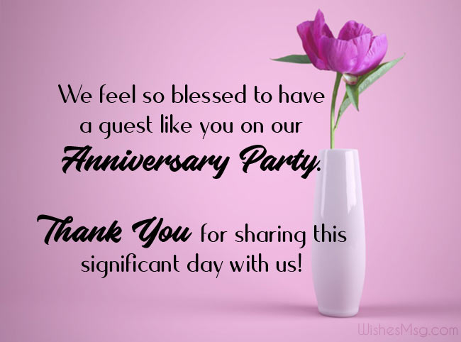Thank You Message for Anniversary Party Guest