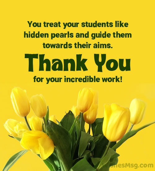 Thank You Message for Teacher from Principal