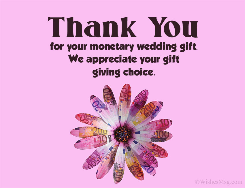 Wedding Thank You Card Message for Money