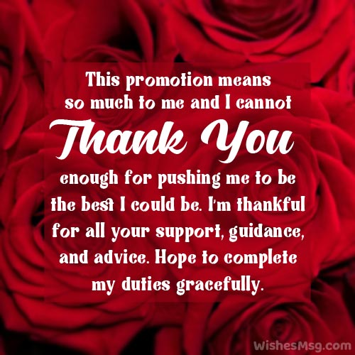 Wordings for Thank You Letter on Promotion