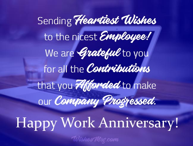 Work Anniversary Messages For Employee