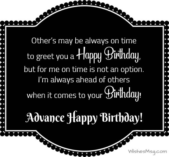 Awe Inspiring Advance Birthday Wishes Messages And Quotes Wishesmsg Personalised Birthday Cards Beptaeletsinfo