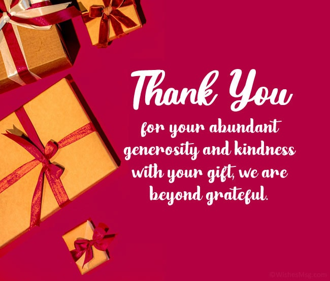 appreciation message for wedding gift