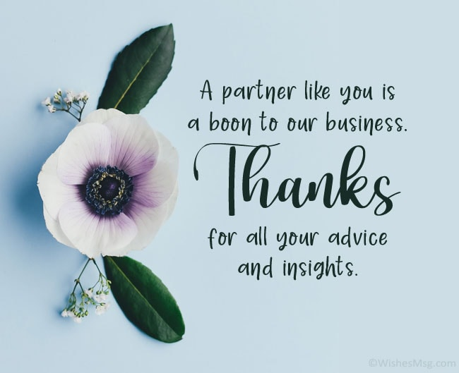 business thank you messages to partner