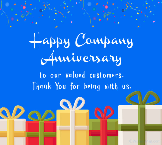 company anniversary message to customers