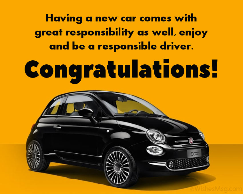 congratulations for new car