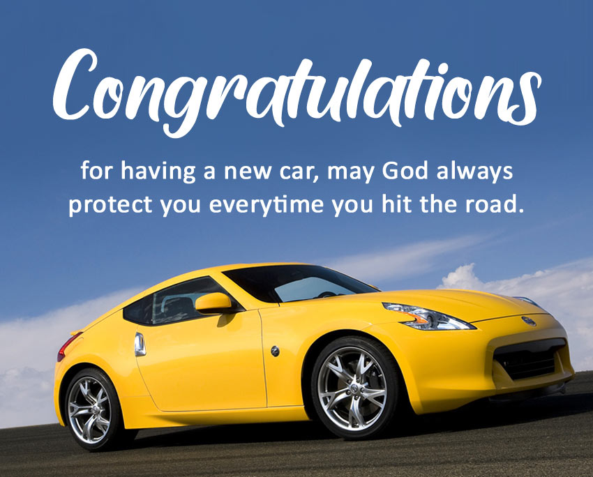 congratulations message for new car religious