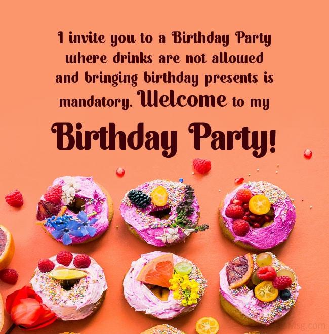 funny birthday invitation message