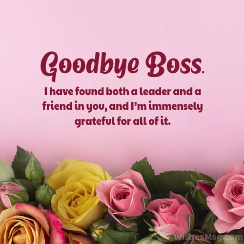 goodbye message to boss when you are leaving