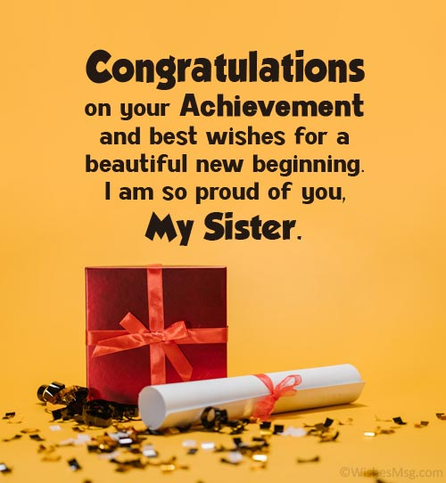 graduation message for sister