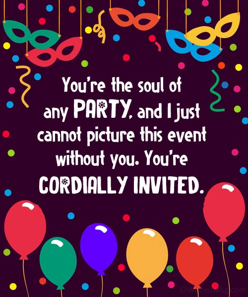 party invitation message