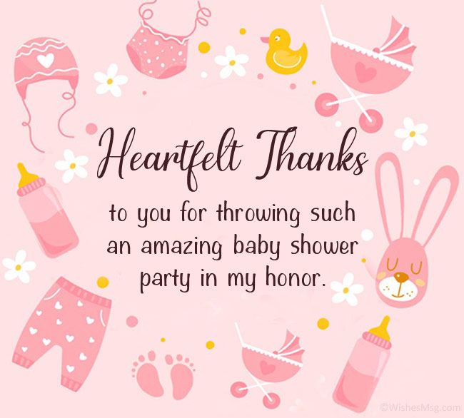 thank you message for baby shower party host