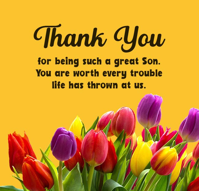 thank you message to my son