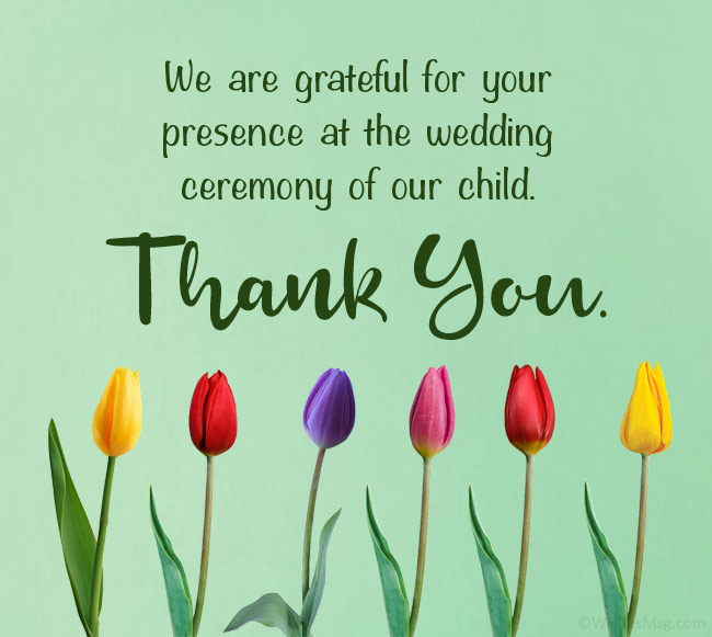 wedding thank you messages from parents